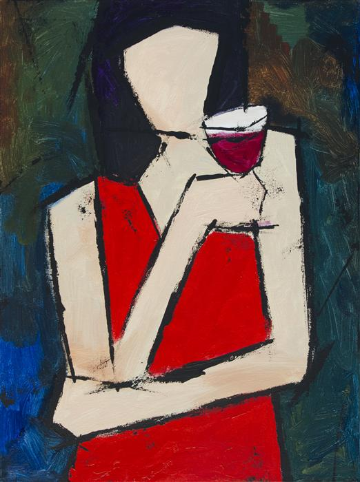 Original art for sale at UGallery.com | Glass of Wine by TANYA GRABKOVA | $875 | Acrylic painting | 24' h x 18' w | ..\art\acrylic-painting-Glass-of-Wine