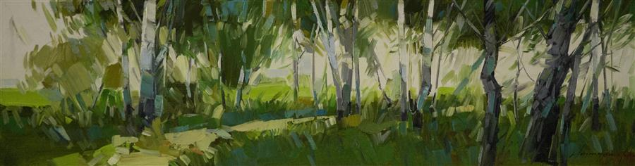 Original art for sale at UGallery.com | Birches Grove in Cobalt by VAHE YEREMYAN | $600 | Oil painting | 8' h x 30' w | ..\art\oil-painting-Birches-Grove-in-Cobalt
