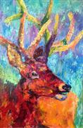 Expressionism art,Animals art,Representational art,acrylic painting,Stag Party - Buck