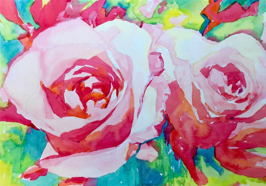 Original art for sale at UGallery.com | Pink Roses 3 by JO MACKENZIE | $525 | Watercolor painting | 14' h x 20' w | ..\art\watercolor-painting-Pink-Roses-3