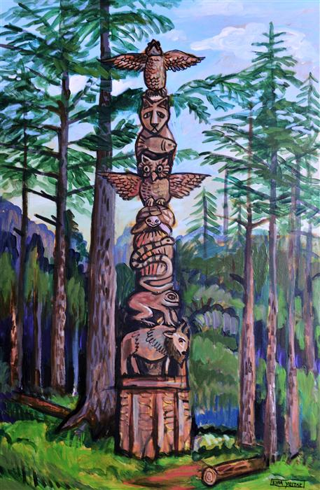 Original art for sale at UGallery.com | Totem by Kira Yustak | $1,075 | acrylic painting | 36' h x 24' w | ..\art\acrylic-painting-Totem-41063