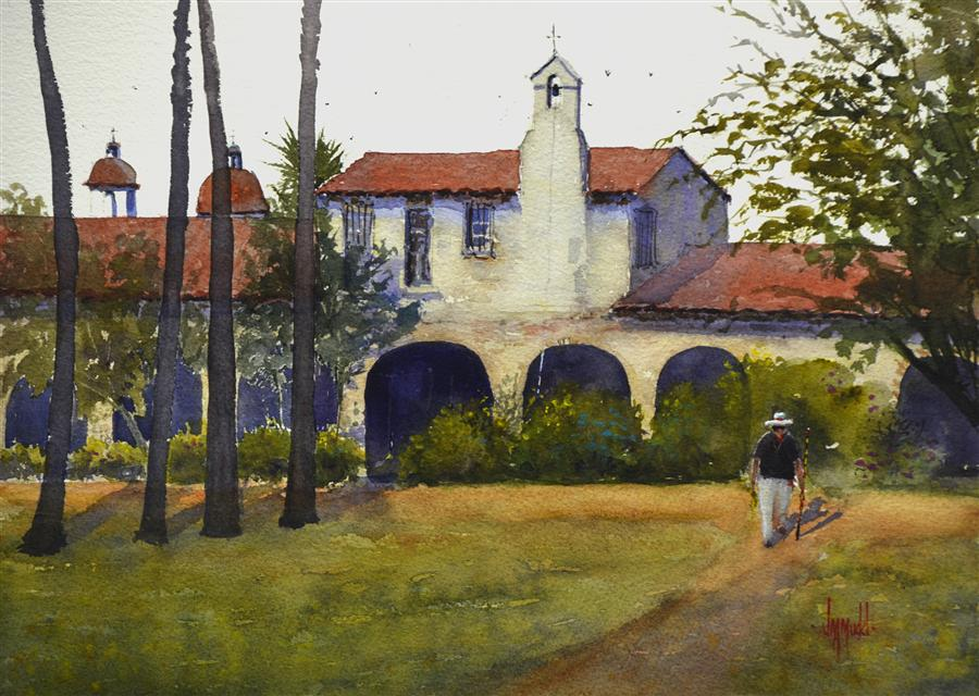 Original art for sale at UGallery.com | Memories of Capistrano by JUDY MUDD | $500 | Watercolor painting | 11' h x 14.5' w | ..\art\watercolor-painting-Memories-of-Capistrano