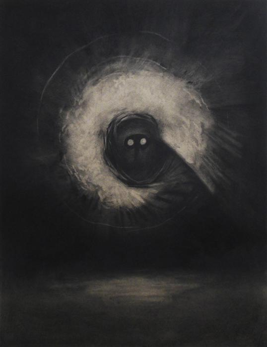 Original art for sale at UGallery.com | The Visitor by DREW MCSHERRY | $675 |  | 25' h x 19' w | ..\art\charcoal-drawing-The-Visitor