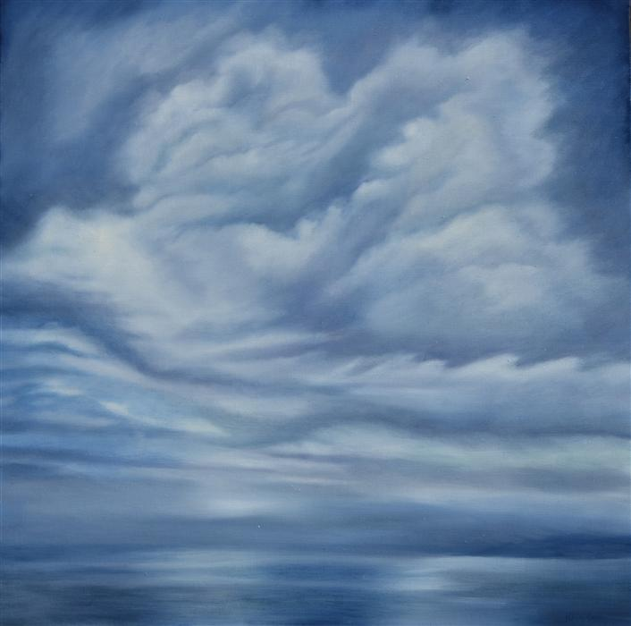 Original art for sale at UGallery.com | Into the Blue by Kelly Money | $1,300 | oil painting | 36' h x 36' w | ..\art\oil-painting-Into-the-Blue