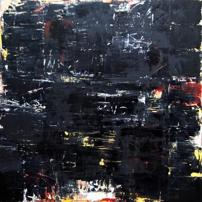 Original art for sale at UGallery.com | Black Painting #3 by JIM BLACK | $4,575 |  | 48' h x 48' w | ..\art\encaustic-artwork-Black-Painting-3