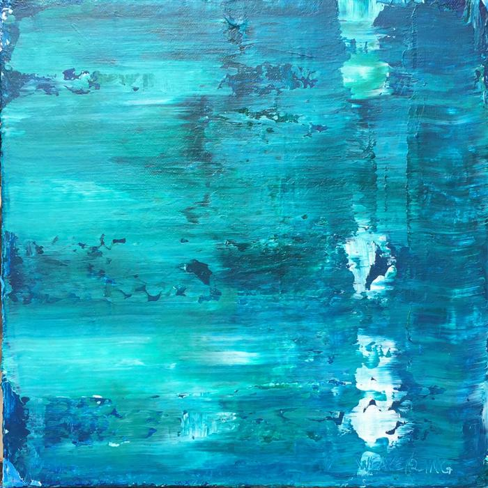 Original art for sale at UGallery.com | Oceans 39 by JULIE WEAVERLING | $350 |  | 12' h x 12' w | ..\art\acrylic-painting-Oceans-39