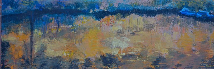 Original art for sale at UGallery.com | River Reflections by SIDONIE CARON | $1,550 | Acrylic painting | 15' h x 45' w | ..\art\acrylic-painting-River-Reflections