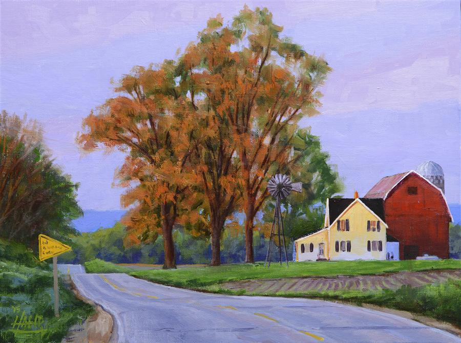 Original art for sale at UGallery.com | Rural Route by NATHAN HAGER | $625 |  | 9' h x 12' w | ..\art\oil-painting-Rural-Route