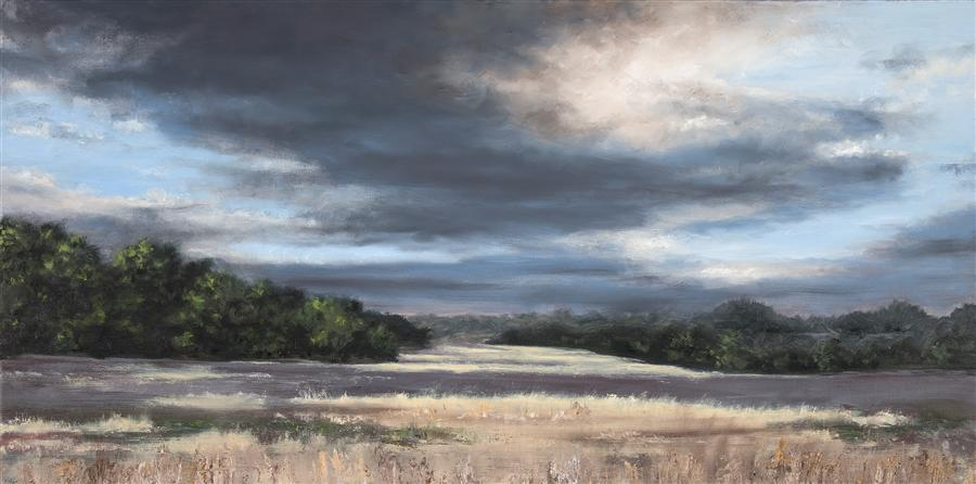 Original art for sale at UGallery.com | Late Afternoon Meadow by JILL POYERD | $1,650 |  | 15' h x 30' w | ..\art\oil-painting-Late-Afternoon-Meadow