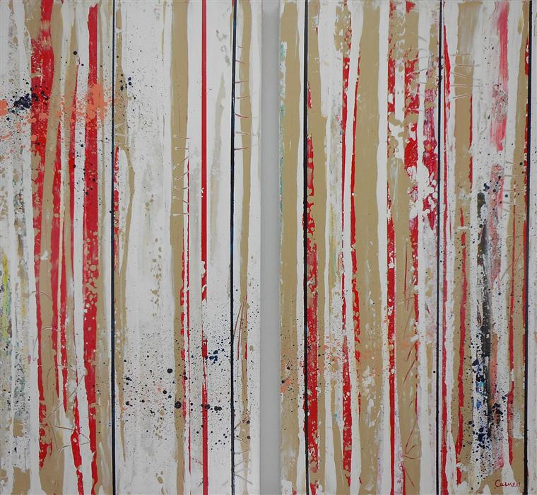 Original art for sale at UGallery.com | Linear Context by LISA CARNEY | $1,350 | Acrylic painting | 38' h x 40' w | ..\art\acrylic-painting-Linear-Context