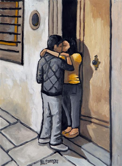 Original art for sale at UGallery.com | Young Couple in Florence by ROBERT  HOLEWINSKI | $800 |  | 23' h x 17' w | ..\art\oil-painting-Young-Couple-in-Florence
