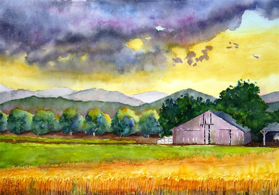 Original art for sale at UGallery.com | Sunset on Summer Wheat by NANCY MUREN | $700 |  | 16' h x 22' w | ..\art\watercolor-painting-Sunset-on-Summer-Wheat