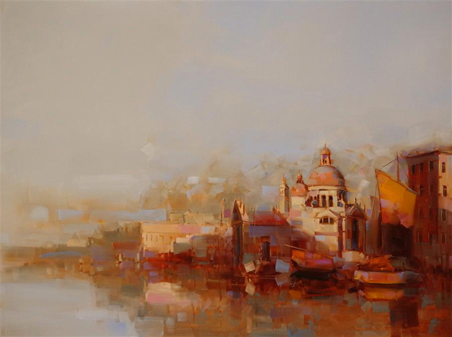 Original art for sale at UGallery.com | Golden Venice by VAHE YEREMYAN | $2,825 |  | 36' h x 48' w | ..\art\oil-painting-Golden-Venice