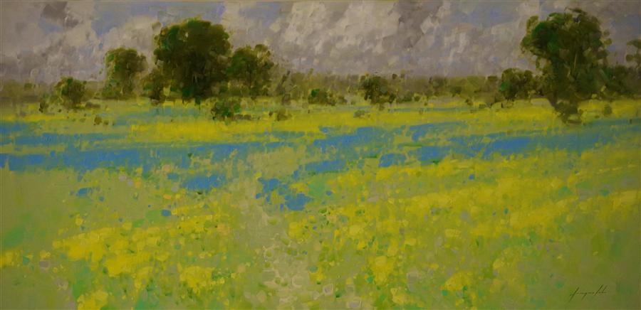 Original art for sale at UGallery.com | Lavender Fields in Old Provence by VAHE YEREMYAN | $2,625 | Oil painting | 24' h x 48' w | ..\art\oil-painting-Lavender-Fields-in-Old-Provence