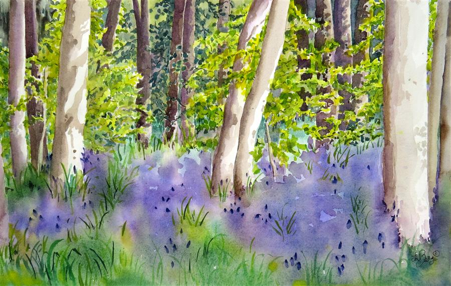 Original art for sale at UGallery.com | Bush Park Floral by NANCY MUREN | $650 | Watercolor painting | 15' h x 22' w | ..\art\watercolor-painting-Bush-Park-Floral