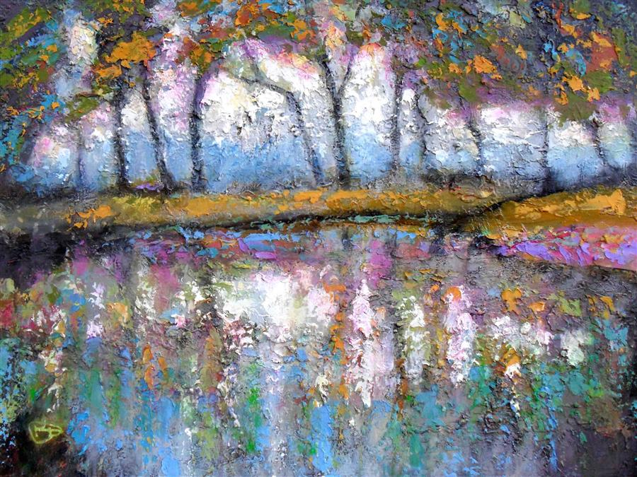 Original art for sale at UGallery.com | Pond Color by KIP DECKER | $2,700 | Acrylic painting | 30' h x 40' w | ..\art\acrylic-painting-Pond-Color