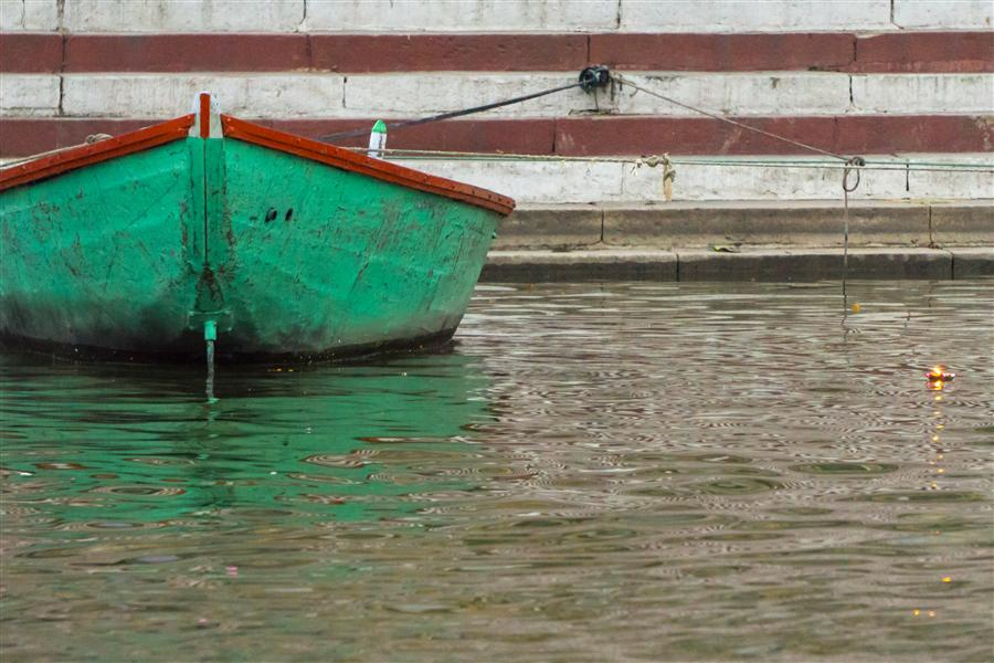 Original art for sale at UGallery.com | Boat on the Ganges by Kimberly Poppe | $375 | photography | 36' h x 24' w | ..\art\photography-Boat-on-the-Ganges