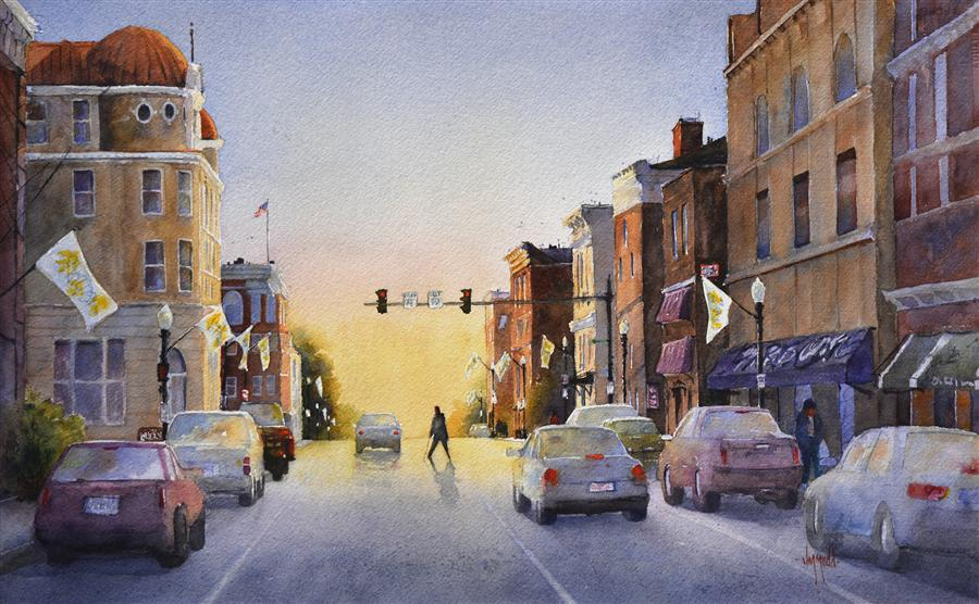 Original art for sale at UGallery.com | Morning in Town by JUDY MUDD | $1,025 |  | 14' h x 22' w | ..\art\watercolor-painting-Morning-in-Town