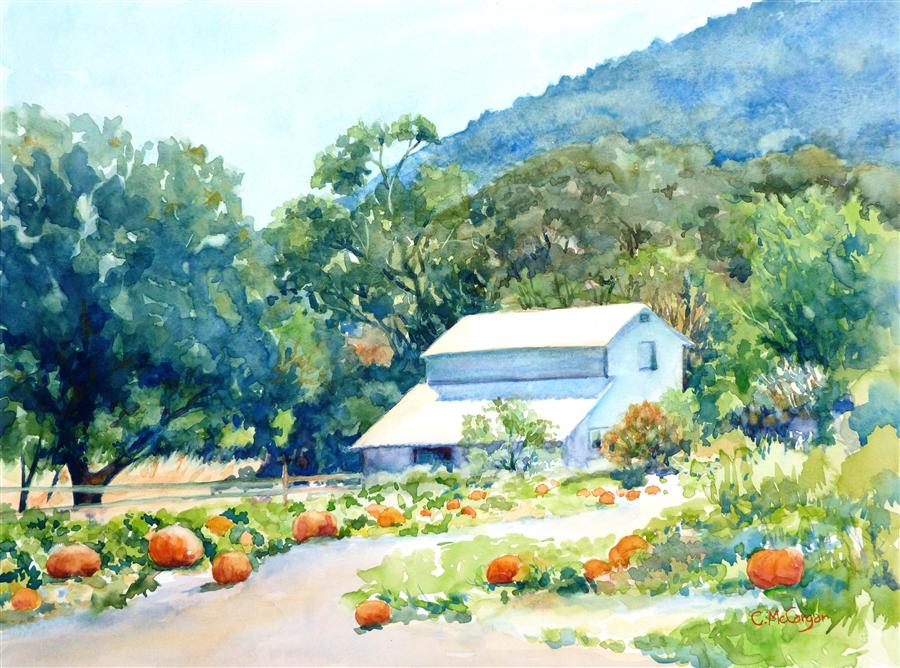 Original art for sale at UGallery.com | Valley Harvest by CATHERINE MCCARGAR | $575 | Watercolor painting | 12' h x 16' w | ..\art\watercolor-painting-Valley-Harvest
