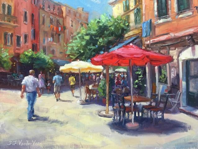 Original art for sale at UGallery.com | Summer in Vernazza by Faye Vander Veer | $1,175 | oil painting | 11' h x 14' w | ..\art\oil-painting-Summer-in-Vernazza