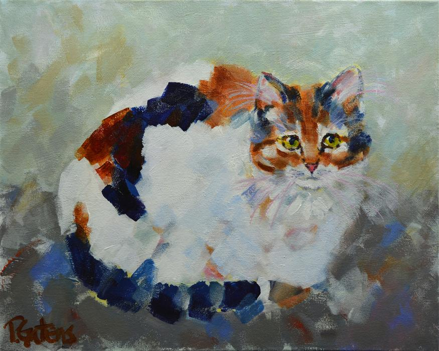 Original art for sale at UGallery.com | Patio Calico by PAMELA GATENS | $625 |  | 16' h x 20' w | ..\art\acrylic-painting-Patio-Calico