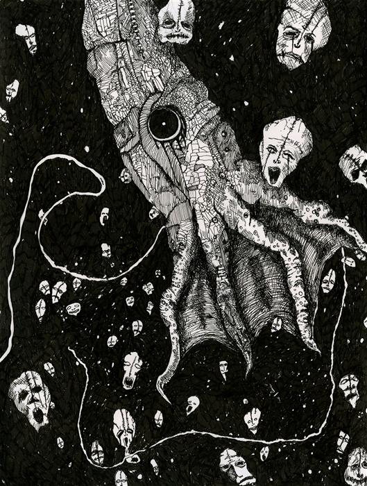 Original art for sale at UGallery.com | Nightmare Squid by ANTHONY CHRISTOPHER | $575 | Ink artwork | 12' h x 9' w | ..\art\ink-artwork-Nightmare-Squid