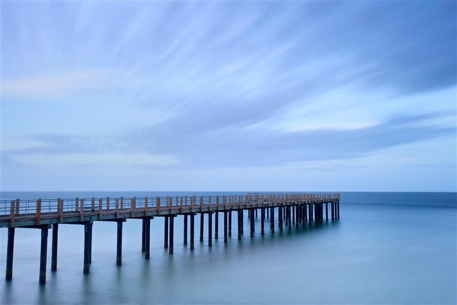 Original art for sale at UGallery.com | Dusk on the Pier II by Katherine Gendreau | $375 | photography | 36' h x 24' w | ..\art\photography-Dusk-on-the-Pier-II