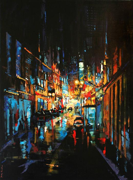 Original art for sale at UGallery.com | The City at Night 02 by YUVAK TULADHAR | $3,925 |  | 54' h x 40' w | ..\art\acrylic-painting-The-City-at-Night-02