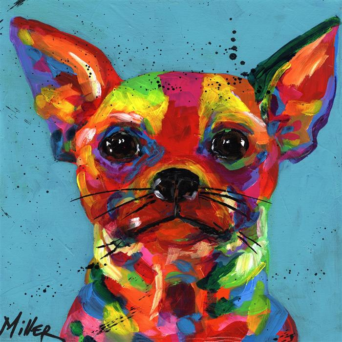 Original art for sale at UGallery.com | Aye Chihuahua by TRACY MILLER | $350 |  | 12' h x 12' w | ..\art\acrylic-painting-Aye-Chihuahua