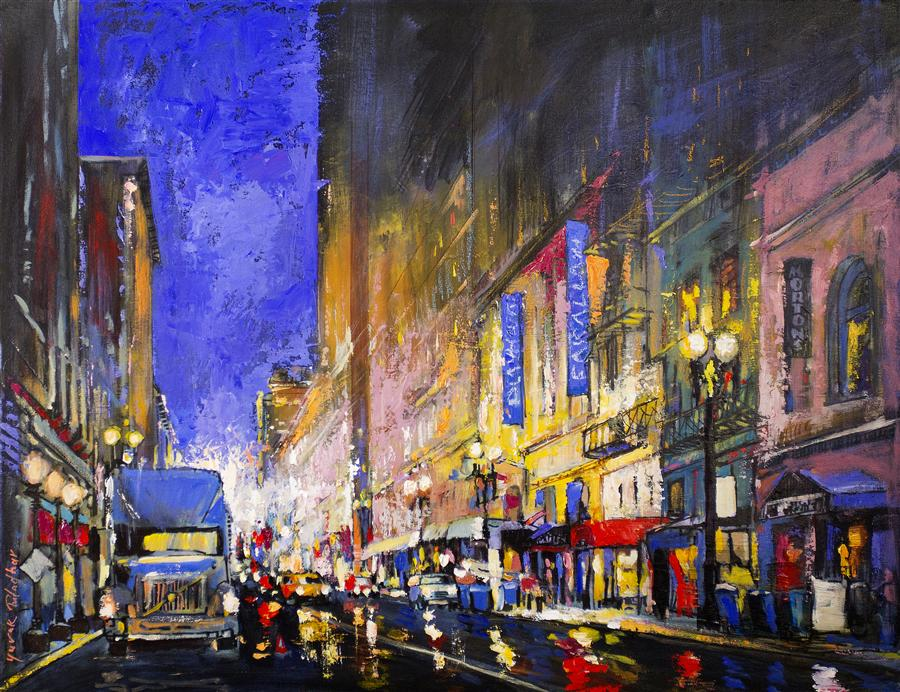Original art for sale at UGallery.com | Post Street from Powell Street by YUVAK TULADHAR | $2,000 | Acrylic painting | 28' h x 36' w | ..\art\acrylic-painting-Post-Street-from-Powell-Street