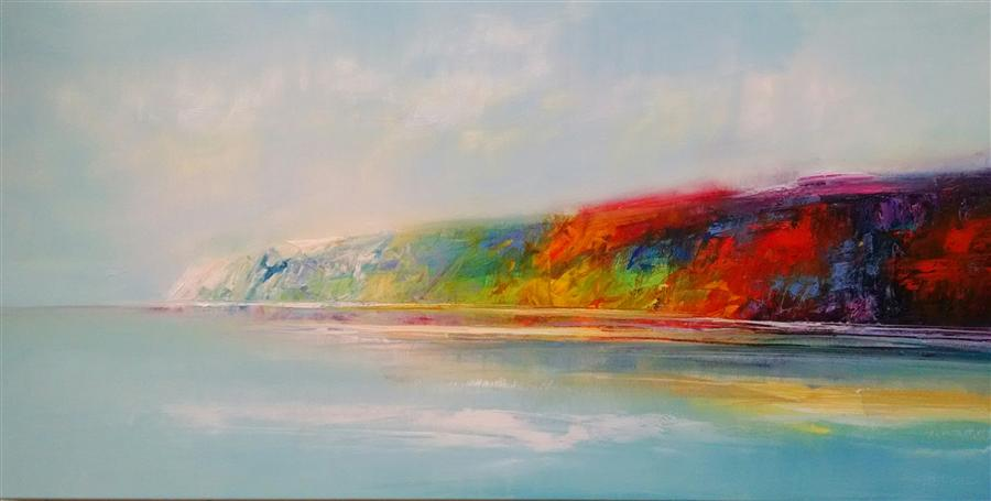 Original art for sale at UGallery.com | Distance Shoreline by GEORGE PEEBLES | $2,625 | Oil painting | 30' h x 69' w | ..\art\oil-painting-Distance-Shoreline