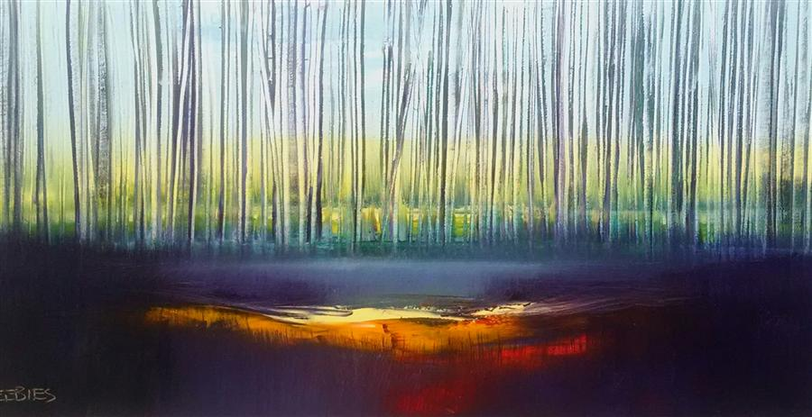Original art for sale at UGallery.com | Into Dusk by GEORGE PEEBLES | $1,625 | Oil painting | 24' h x 48' w | ..\art\oil-painting-Into-Dusk