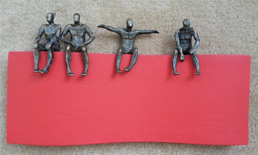 Original art for sale at UGallery.com | U-14 Wavy Red  by Yelitza Diaz | $1,550 | mixed media artwork | 14' h x 23' w | ..\art\sculpture-U-14-Wavy-Red