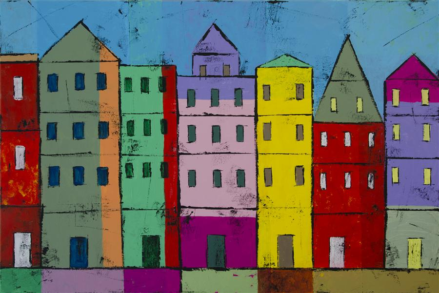 Original art for sale at UGallery.com | Colorful Houses by TANYA GRABKOVA | $1,200 |  | 24' h x 36' w | ..\art\acrylic-painting-Colorful-Houses-42093