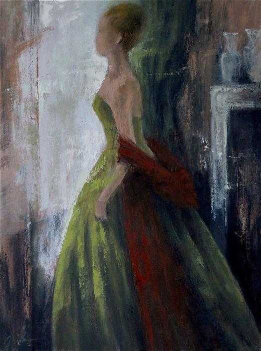 Original art for sale at UGallery.com | Green Dress and Red Shawl by NAOKO PALUSZAK | $2,200 | Oil painting | 24' h x 18' w | ..\art\oil-painting-Green-Dress-and-Red-Shawl