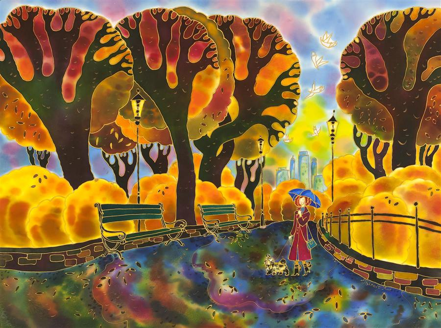 Original art for sale at UGallery.com | Central Park New York, Fall Time by YELENA SIDOROVA | $1,800 | Mixed media artwork | 30' h x 40' w | ..\art\mixed-media-artwork-Central-Park-New-York-Fall-Time