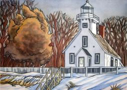 landscape art,nature art,watercolor painting,Old Mission Lighthouse