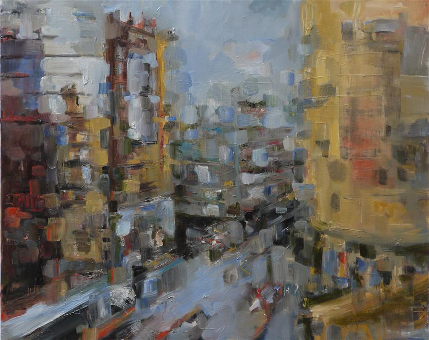 Original art for sale at UGallery.com | Downtown San Jose by MICHELE GIULVEZAN-TANNER | $7,500 | Oil painting | 48' h x 60' w | ..\art\oil-painting-Downtown-San-Jose