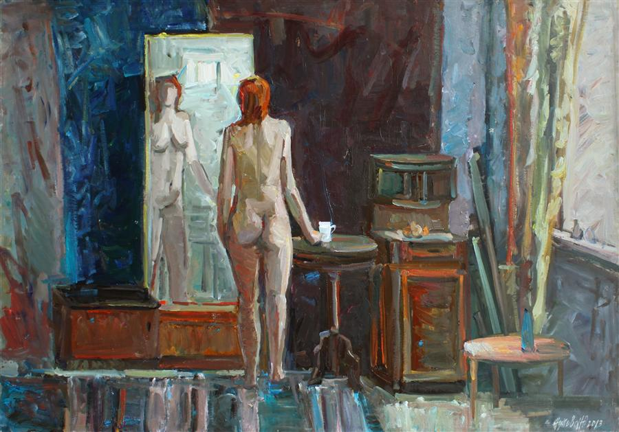 Original art for sale at UGallery.com | Nude in the Interior by JULIYA ZHUKOVA | $1,625 | Oil painting | 28' h x 40' w | ..\art\oil-painting-Nude-in-the-Interior