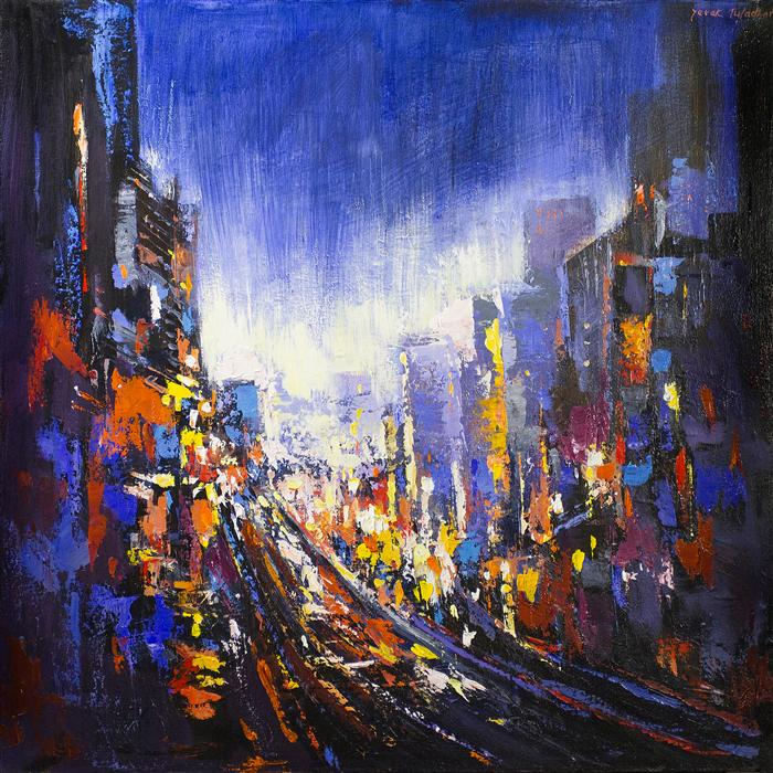Original art for sale at UGallery.com | Impression Powell Street by YUVAK TULADHAR | $2,125 |  | 32' h x 32' w | ..\art\acrylic-painting-Impression-Powell-Street