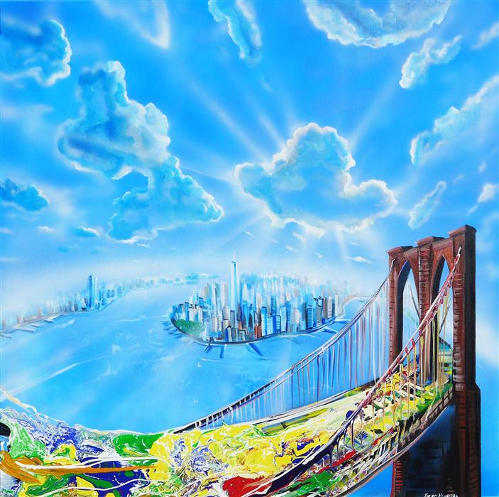 Original art for sale at UGallery.com | New York Glow by PIERO MANRIQUE | $2,650 | Acrylic painting | 36' h x 36' w | ..\art\acrylic-painting-New-York-Glow