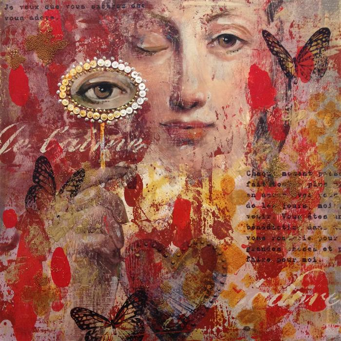 Original art for sale at UGallery.com | A Lover's Eye by DARLENE MCELROY | $575 |  | 12' h x 12' w | ..\art\mixed-media-artwork-A-Lover-s-Eye