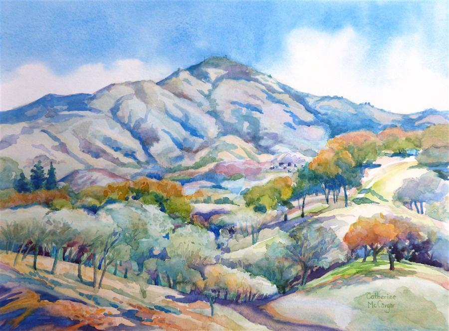 Original art for sale at UGallery.com | Mt. Diablo Westerly Slopes by CATHERINE MCCARGAR | $550 | Watercolor painting | 12' h x 16' w | ..\art\watercolor-painting-Mt-Diablo-Westerly-Slopes