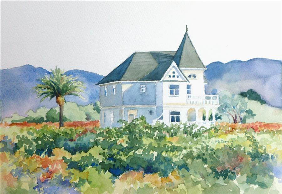 Original art for sale at UGallery.com | Vineyard Victorian by CATHERINE MCCARGAR | $350 | Watercolor painting | 8' h x 12' w | ..\art\watercolor-painting-Vineyard-Victorian
