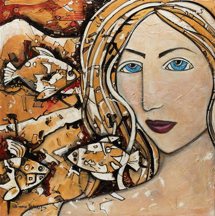 Original art for sale at UGallery.com | The Girl from the Water by CLEMENCE DUBOIS | $1,200 |  | 24' h x 24' w | ..\art\mixed-media-artwork-The-Girl-from-the-Water