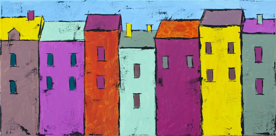Original art for sale at UGallery.com | Colorful Houses  2 by TANYA GRABKOVA | $400 |  | 10' h x 20' w | ..\art\acrylic-painting-Colorful-Houses-2