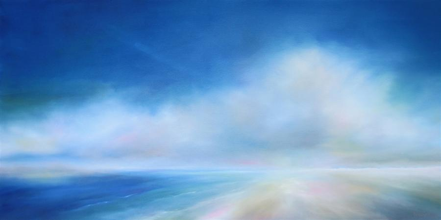 Original art for sale at UGallery.com | Beach Bliss Blue by NANCY HUGHES MILLER | $1,975 | Oil painting | 24' h x 48' w | ..\art\oil-painting-Beach-Bliss-Blue