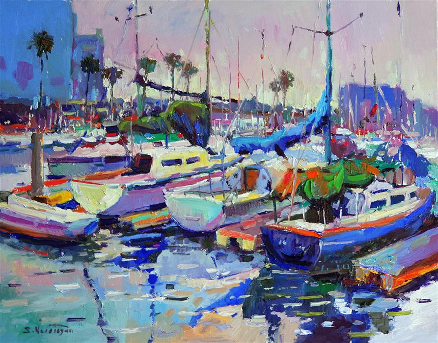 Original art for sale at UGallery.com | Boats in Marina del Rey (Blue Morning) by SUREN NERSISYAN | $1,825 |  | 22' h x 28' w | ..\art\oil-painting-Boats-in-Marina-del-Rey-Blue-Morning