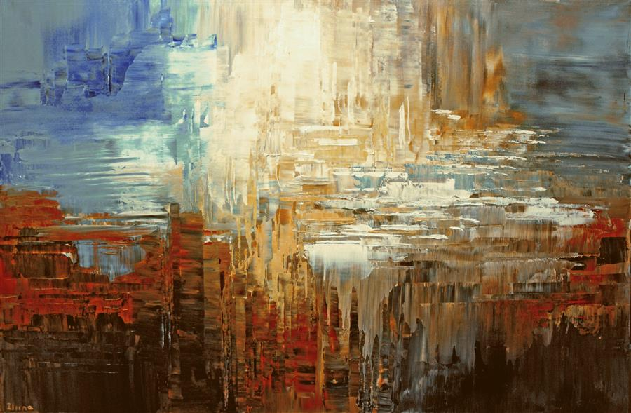 Original art for sale at UGallery.com | Canyon Waterfalls by TATIANA ILIINA | $775 | Acrylic painting | 24' h x 36' w | ..\art\acrylic-painting-Canyon-Waterfalls