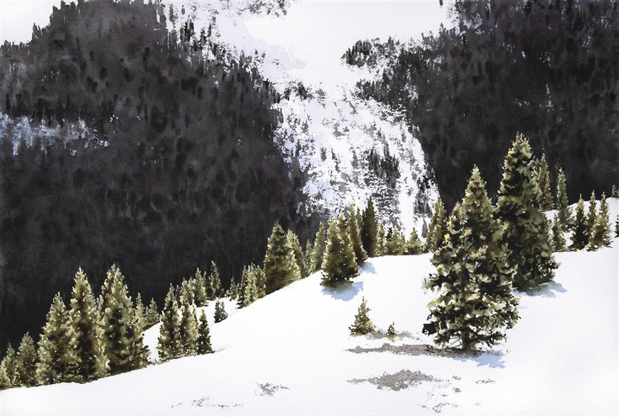 Original art for sale at UGallery.com | Backcountry Glade by JILL POYERD | $1,350 |  | 16' h x 25' w | ..\art\watercolor-painting-Backcountry-Glade